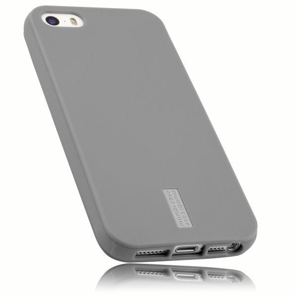 TPU Hülle hell grau mit Logo für Apple iPhone SE / 5 / 5s