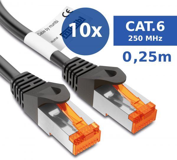 10er Set CAT 6 Ethernet Lan Netzwerkkabel 0,25 Meter Kabel in Schwarz