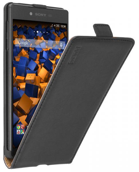 Flip Case Ledertasche schwarz für Sony Xperia Z5 Premium
