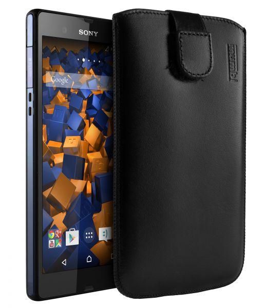 Leder Etui Tasche mit Ausziehlasche schwarz für Sony Xperia Z