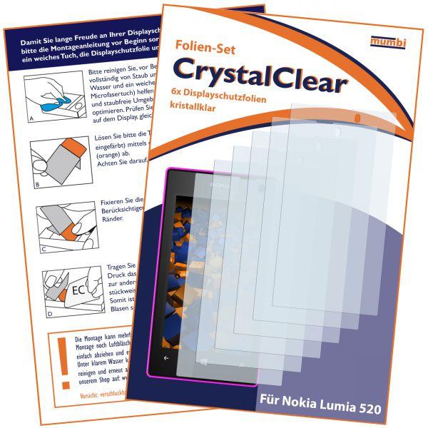 Displayschutzfolie 6 Stck. CrystalClear für Nokia Lumia 520