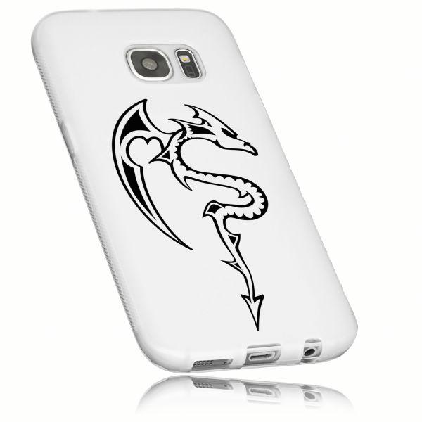 TPU Hülle weiß transparent Motiv Drache für Samsung Galaxy S7