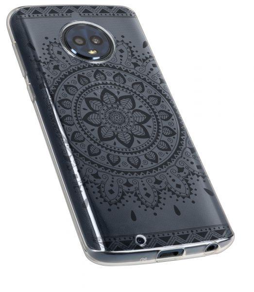 TPU Hülle Ultra Slim transparent schwarzes Motiv Mandala für Motorola Moto G6