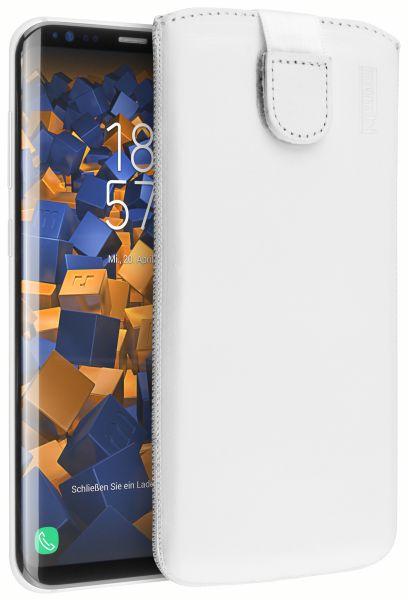 Leder Etui Tasche mit Ausziehlasche weiß für Samsung Galaxy S8 Plus