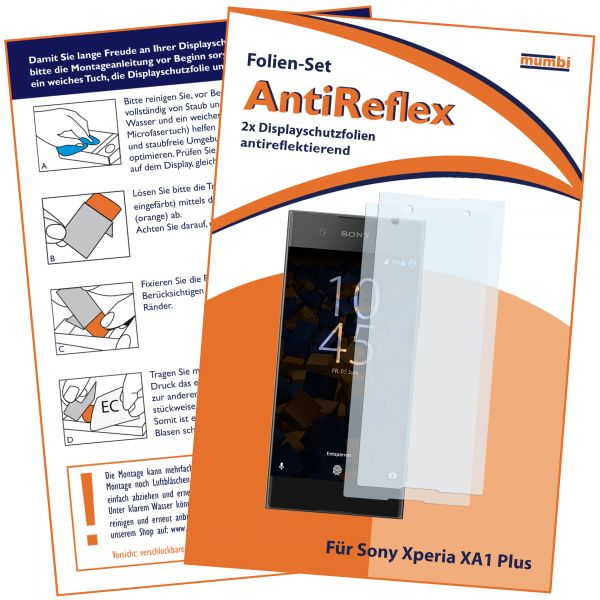 Displayschutzfolie 2 Stck. AntiReflex für Sony Xperia XA1 Plus