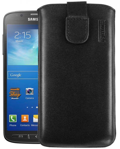 Leder Etui Tasche mit Ausziehlasche schwarz für Samsung Galaxy S4 Active