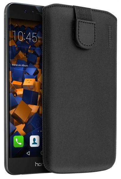 Leder Etui Tasche mit Ausziehlasche schwarz für Huawei Honor 8