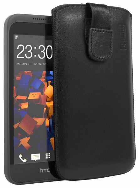 Leder Etui Tasche mit Ausziehlasche schwarz für HTC Desire 320