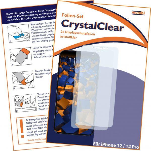 Displayschutzfolie 2 Stck CrystalClear für Apple iphone 12 / 12 Pro