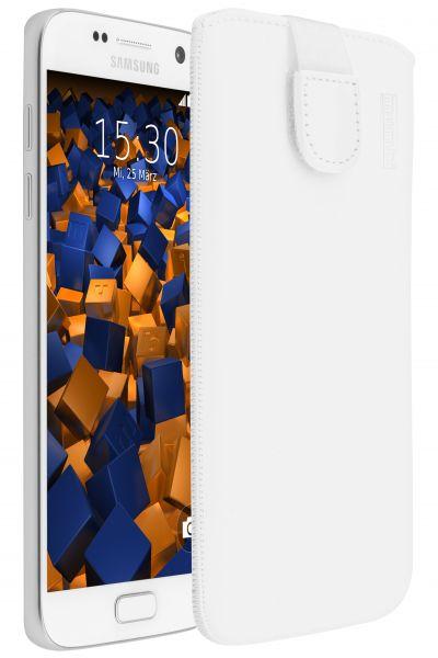 Leder Etui Tasche mit Ausziehlasche weiß für Samsung Galaxy S7