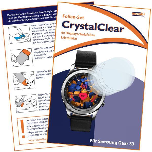 Displayschutzfolie 6 Stck. CrystalClear für Samsung Gear S3
