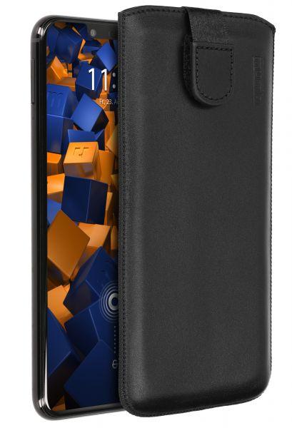 Leder Etui Tasche mit Ausziehlasche schwarz für Huawei Mate 20 Lite
