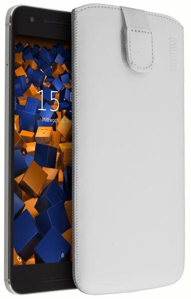 Leder Etui Tasche mit Ausziehlasche weiß für Huawei Google Nexus 6P