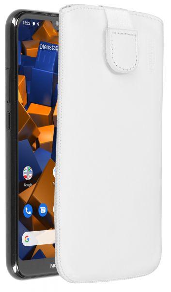Leder Etui Tasche mit Ausziehlasche weiß für Nokia 4.2