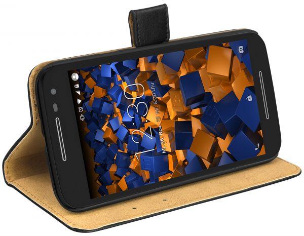 Bookstyle Ledertasche schwarz für Motorola Moto G 3. Generation