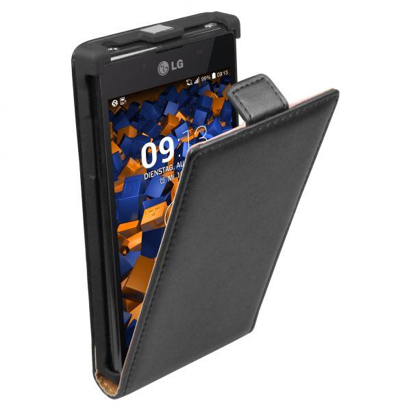 Flip Case Ledertasche schwarz für LG P700 Optimus L7
