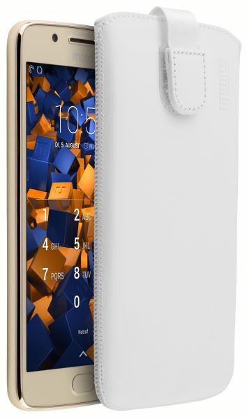 Leder Etui Tasche mit Ausziehlasche weiß für Motorola Moto G5