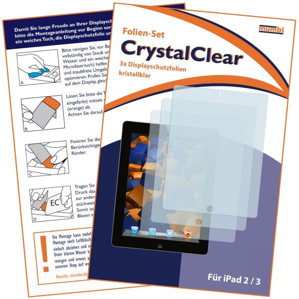 Displayschutzfolie 3 Stck. CrystalClear für Apple iPad 2 / iPad 3 / iPad 4