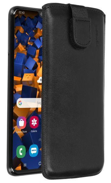 Leder Etui Tasche mit Ausziehlasche schwarz für Samsung Galaxy A40