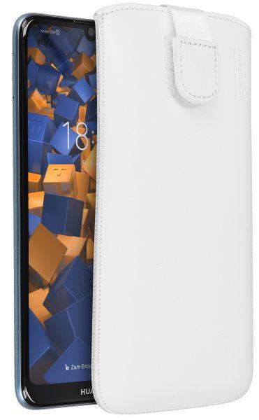 Leder Etui Tasche mit Ausziehlasche weiß für Huawei Y6 (2019)