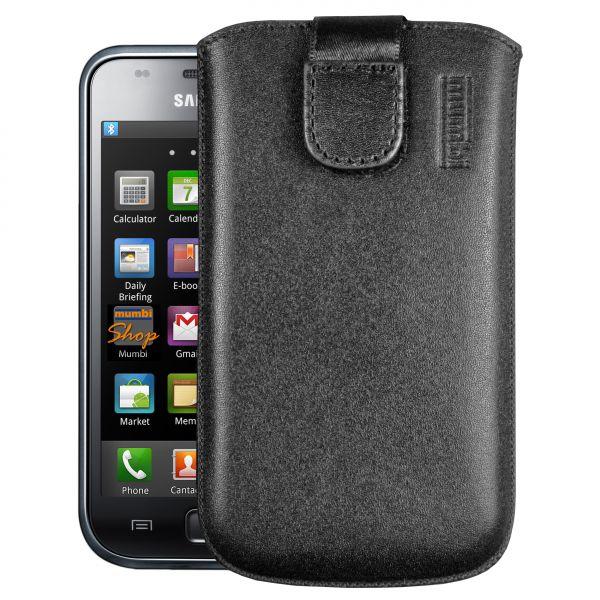 Leder Etui Tasche mit Ausziehlasche schwarz für Samsung Galaxy S / S Plus