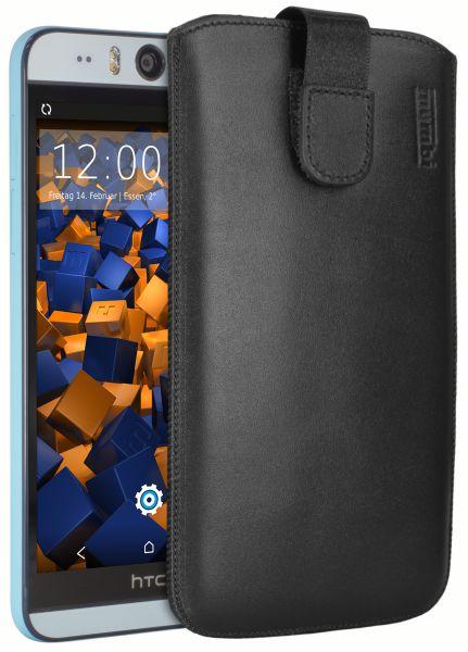 Leder Etui Tasche mit Ausziehlasche schwarz für HTC Desire Eye