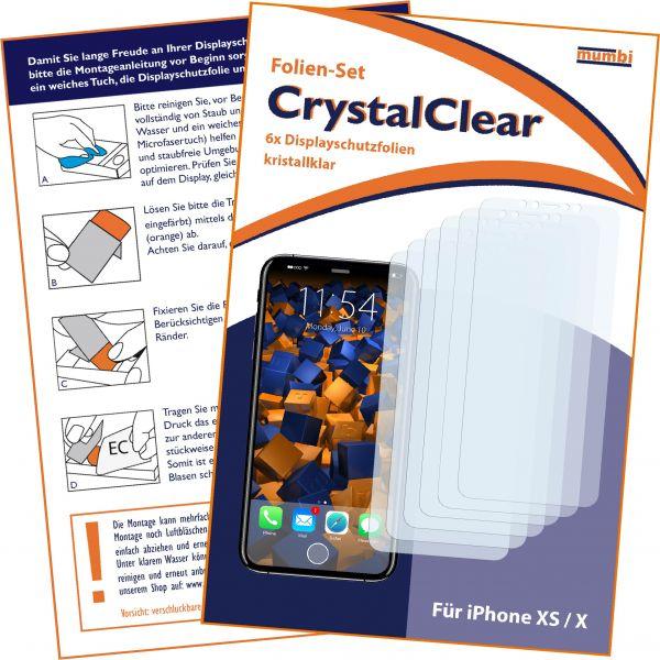 Displayschutzfolie 6 Stck. CrystalClear für Apple iPhone XS / X