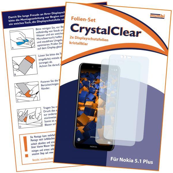 Displayschutzfolie 2 Stck. CrystalClear für Nokia 5.1 Plus