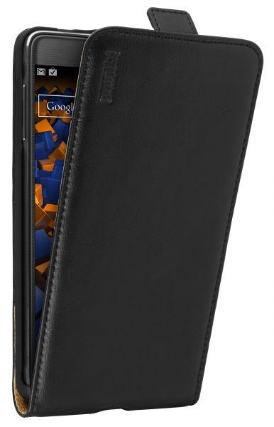 Flip Case Ledertasche schwarz für Samsung Galaxy Note 4