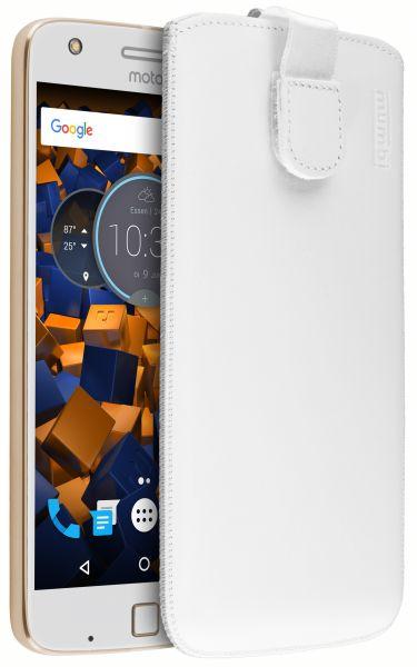Leder Etui Tasche mit Ausziehlasche weiß für Lenovo Moto Z Play