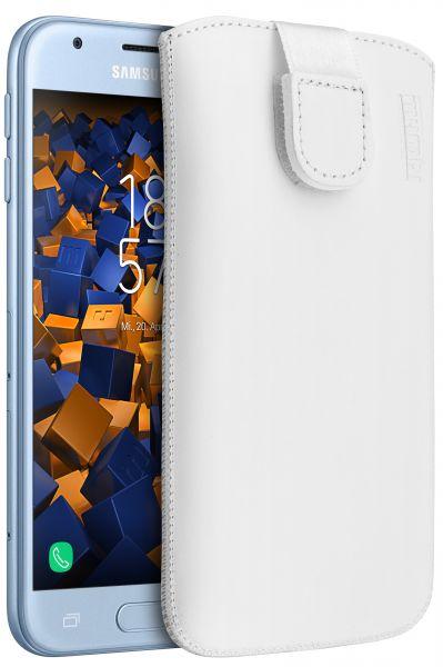 Leder Etui Tasche mit Ausziehlasche weiß für Samsung Galaxy J3 (2017)
