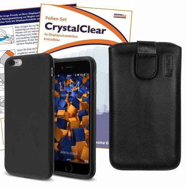 Set aus Grip Hülle, Schutzfolien und Leder Etui für Apple iPhone 6 / 6s