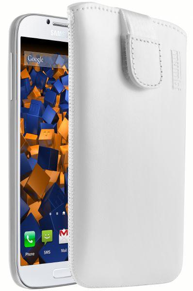 Leder Etui Tasche mit Ausziehlasche weiß für Samsung Galaxy S4