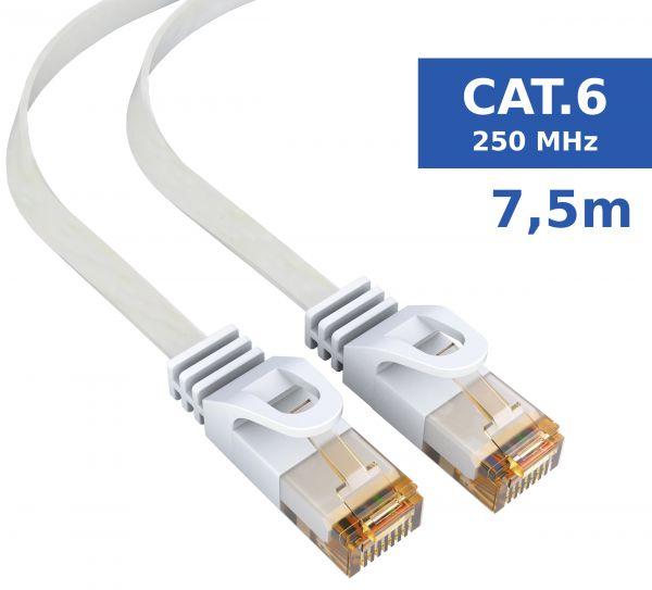CAT 6 Ethernet Lan Netzwerkkabel Flachkabel 7,5 Meter Kabel in Weiß