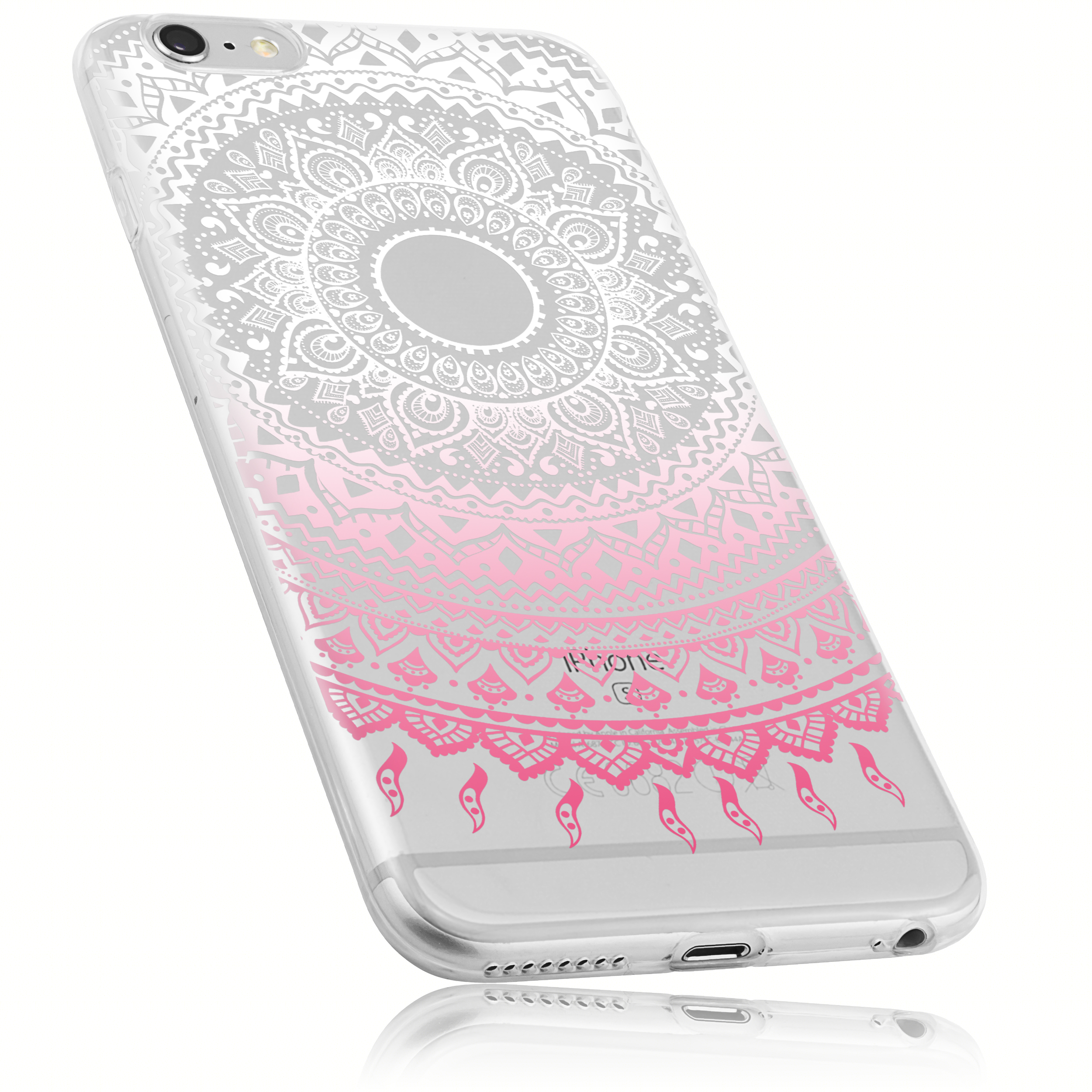 mumbi TPU Hülle Mandala transparent weiß rosa für Apple iPhone 6 iPhone 6s
