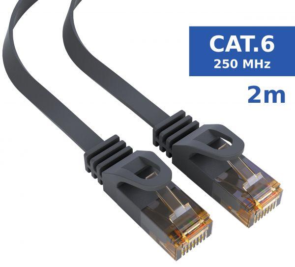 CAT 6 Ethernet Lan Netzwerkkabel Flachkabel 2 Meter Kabel in Schwarz