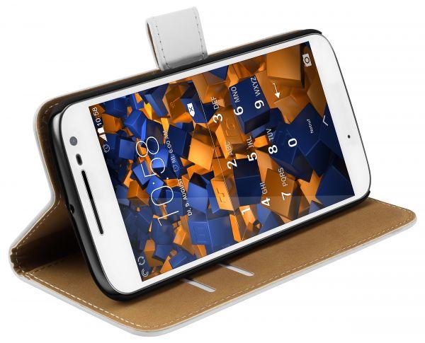 Bookstyle Tasche weiß für Motorola Moto G4 / G4 Plus