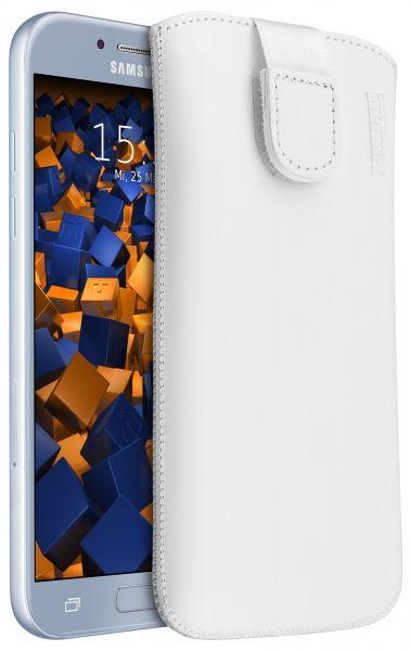 Leder Etui Tasche mit Ausziehlasche weiß für Samsung Galaxy A5 (2017)