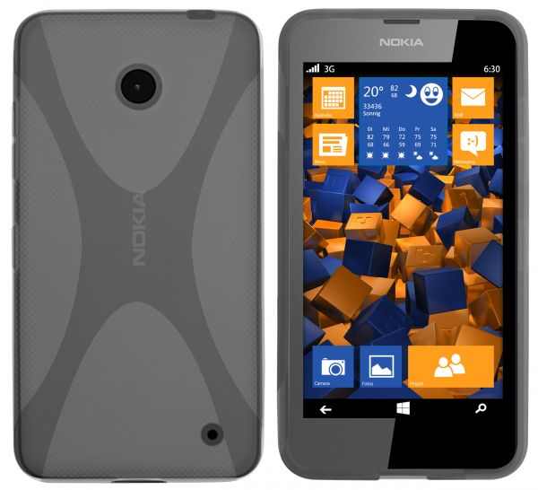 TPU Hülle X-Design schwarz transparent für Nokia Lumia 630 / 635