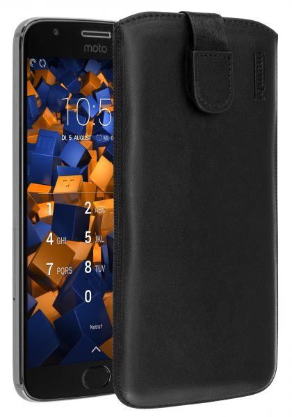 Leder Etui Tasche mit Ausziehlasche schwarz für Motorola Moto G5S Plus