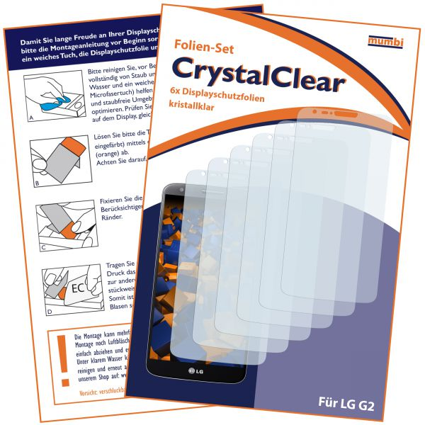 Displayschutzfolie 6 Stck. CrystalClear für LG G2