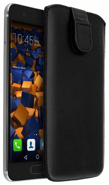 Leder Etui Tasche mit Ausziehlasche schwarz für Huawei P10