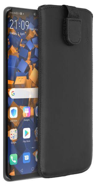 Leder Etui Tasche mit Ausziehlasche schwarz für Huawei P30 Pro