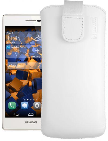 Leder Etui Tasche mit Ausziehlasche weiß für Huawei Ascend P7