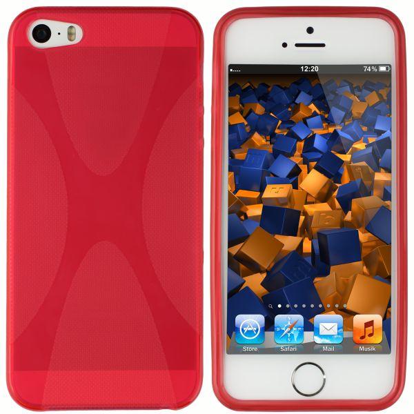 TPU Hülle X-Design transparent rot für Apple iPhone SE / 5 / 5s