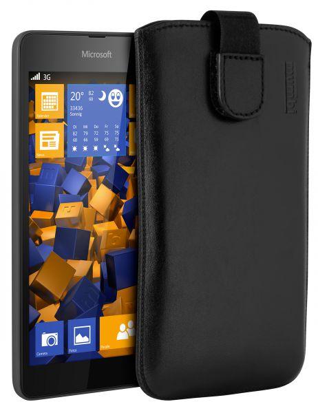 Leder Etui Tasche mit Ausziehlasche schwarz für Microsoft Lumia 535