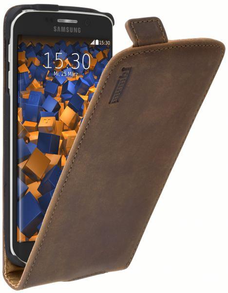 Flip Case Ledertasche braun für Samsung Galaxy S6 Edge