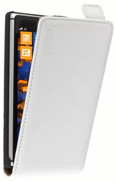 Flip Case Ledertasche weiß für Nokia Lumia 925