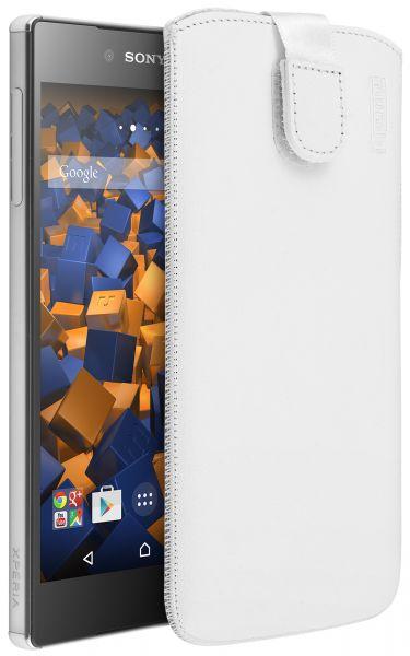 Leder Etui Tasche mit Ausziehlasche weiß für Sony Xperia Z5 Premium