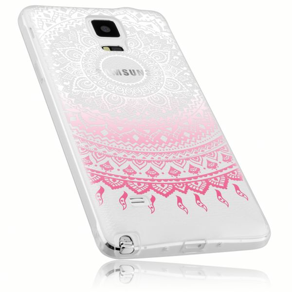 TPU Hülle transparent weiß rosa Motiv Mandala für Samsung Galaxy Note 4